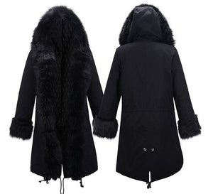Hooded Faux Fur Cuff Long Cotton Coat