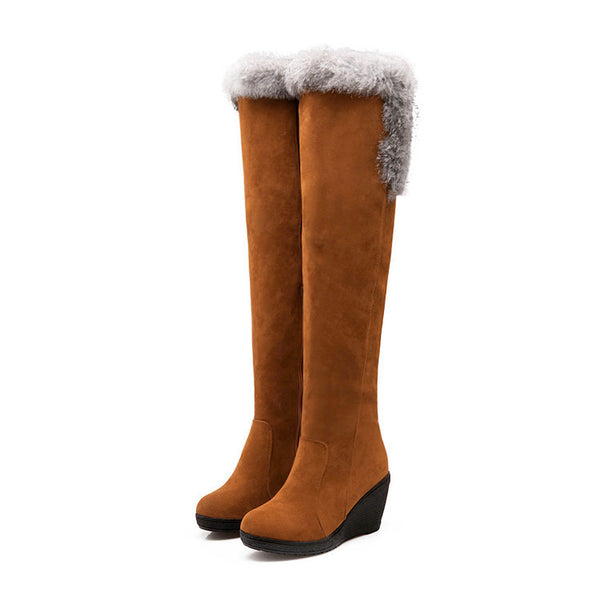 Elegant Wedge Over-Knee Stretch Fox Fur Boots