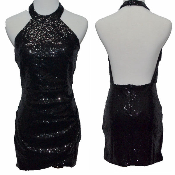 Sequined Backless Halter Bodycon Clubwear Dress - Meet Yours Fashion - 5