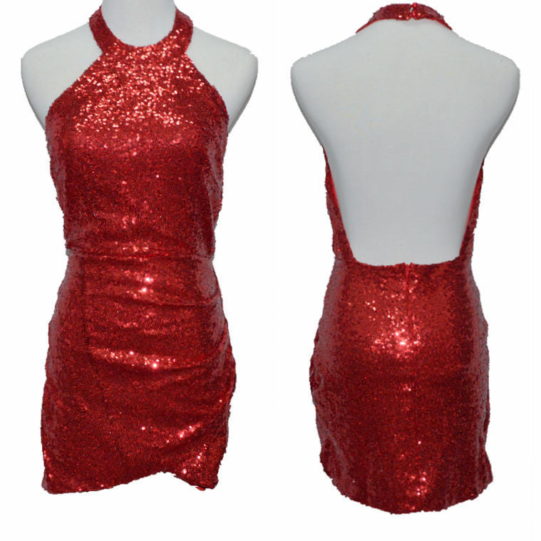 Sequined Backless Halter Bodycon Clubwear Dress - Meet Yours Fashion - 4