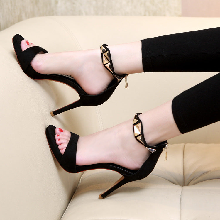 Ankle Wrap Back Zipper Open Toe Stiletto High Heel Sandals