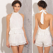 White Lace Halter Backless Tassels Short Jumpsuit