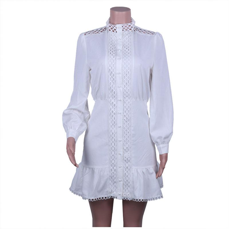 Hollow Out White A Line Dress