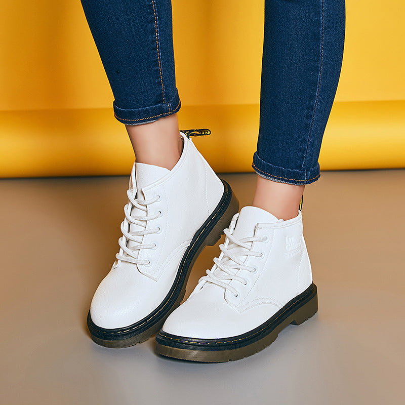 2018 New Fashion Round Toe Lace Up Flat Short British Martin Boots