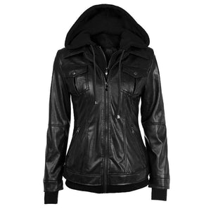 Faux Twinset Pocket Woman Jacket with Removable Hat on - Meet Yours Fashion - 3