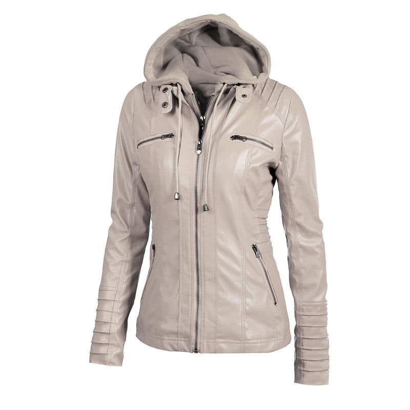 Faux Twinset Pocket Woman Hooded Jacket with Removable Hat on(Extra large code)