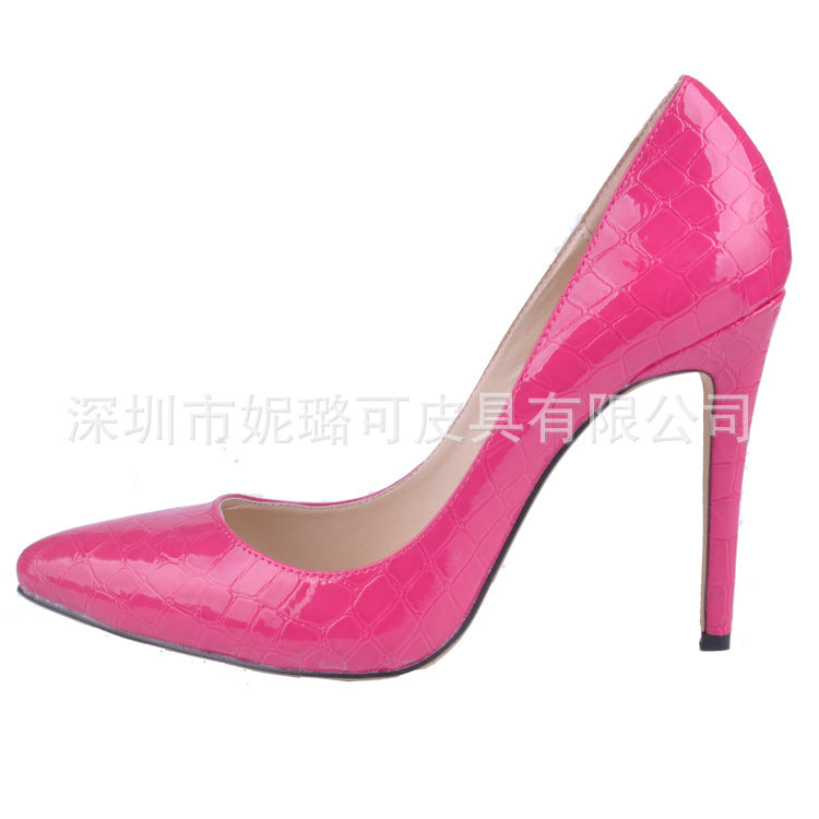 Alligator Pattern Pointed Toe Low Cut Stiletto High Heels