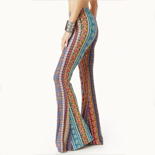 Retro Style Print Bodycon Wide Leg Long Pants