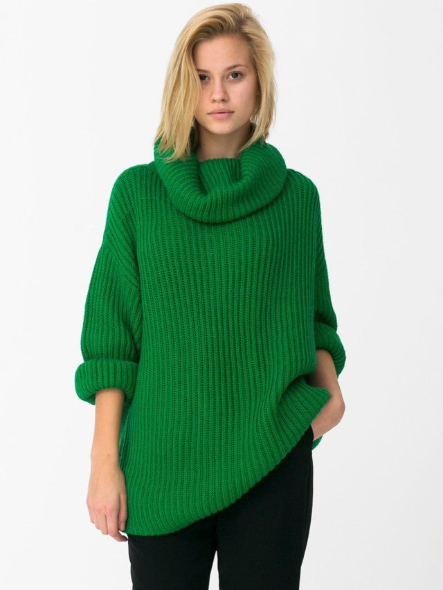 Sleeve High Shawl Collar Pullover Solid Color Sweater - Meet Yours Fashion - 3