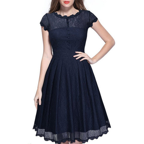 Elegant Lace Short Sleeve A-Line Knee-Length Dress