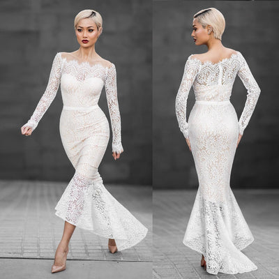 Off Shoulder Pure Color Lace Mermaid Irregular Long Dress