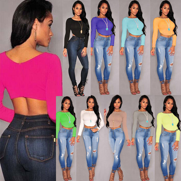 Scoop Irregular Slim Candy Color Crop Top Short T-shirt