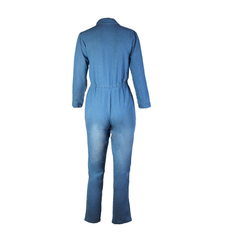 Denim Blue Lapel Draw String Waist Long Jumpsuit