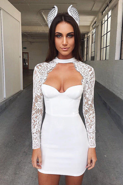 Cut Out Long Lace Sleeves Bodycon Short Dress