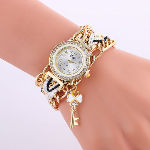 Exaggerate Chain Key Pendant Woven Watch