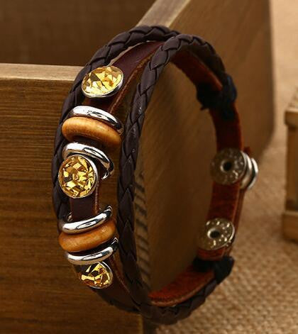 Personality Manually Crystal Woven Leather Bracelet