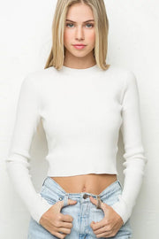 High Collar Pure Color Short Knit Sweater
