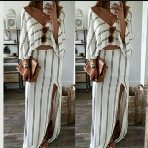Deep V-neck Striped Loose Top with Split Irregular Skirt Two Pieces Dress