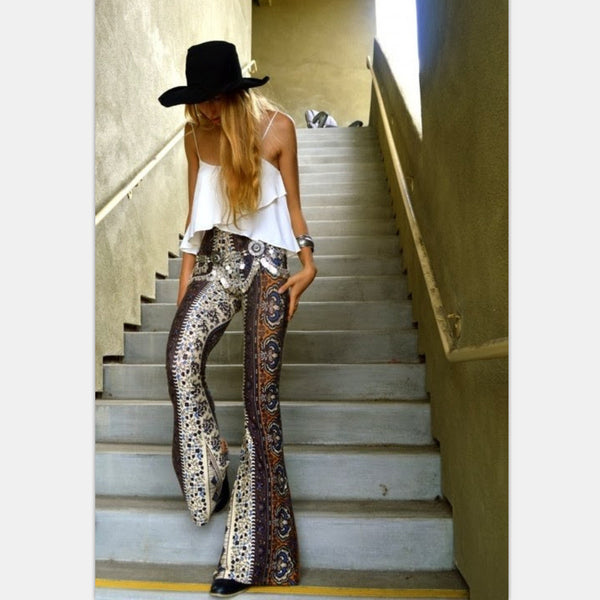 Flower Print Bodycon Fashion Big bell-bottom-bottom Pants