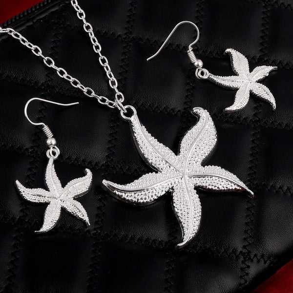 2016 European Fashion Personality Female Necklace and Earrings Silver Starfish Package