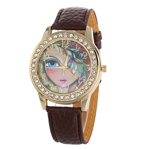 Floral Beauty Crystal Leather Watch