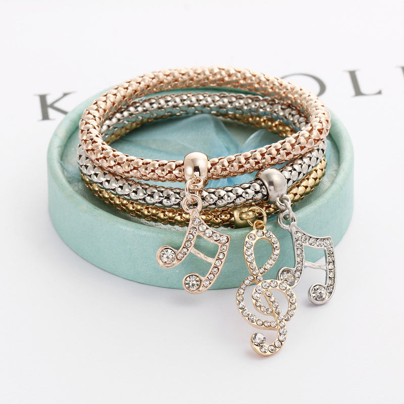 Music Notes Three Color Bounce Bracelet