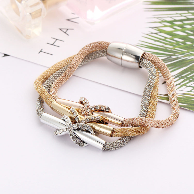 Mesh Crystal X Marks Three Color Bracelet