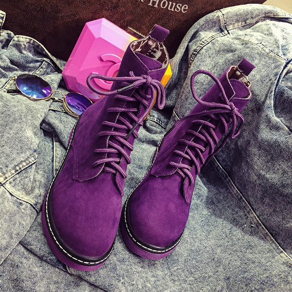 Classic Lace Up Fashion Short Motor Boots