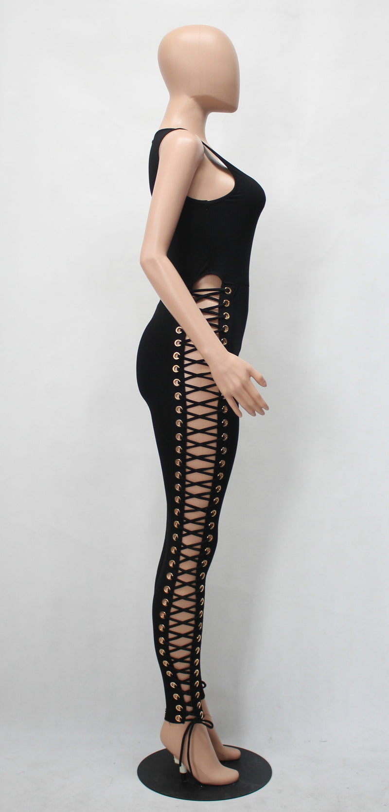 Black Sleeveless Hollow Out Leg Slim Long Jumpsuit