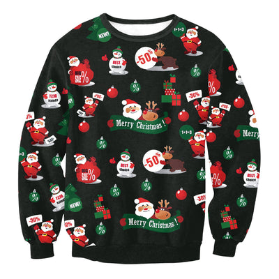 Scoop Colorful Print Women Scoop Christmas Party Sweatshirt