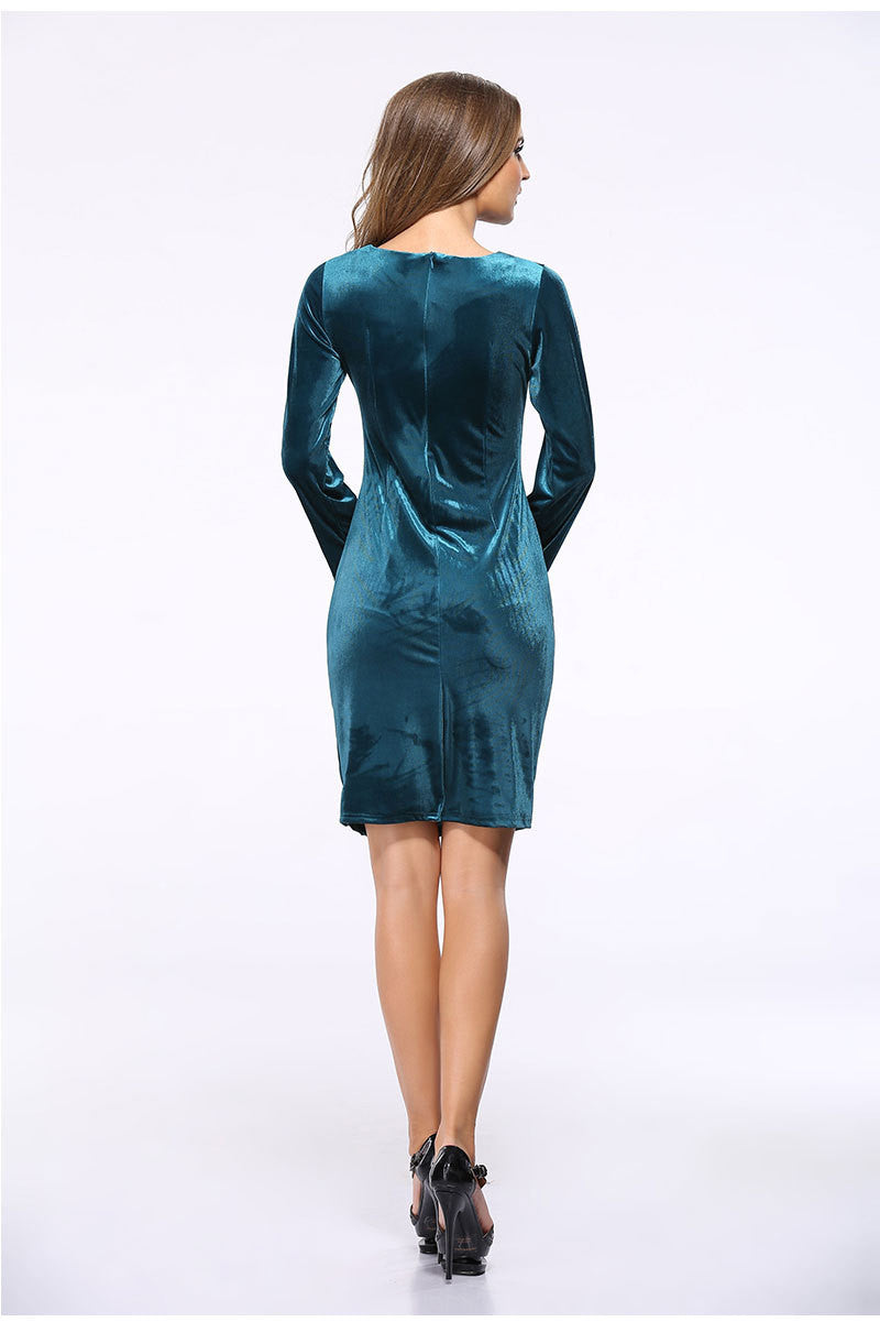 Korea Style Velvet Long Sleeve Drape Short Bodycon Dress