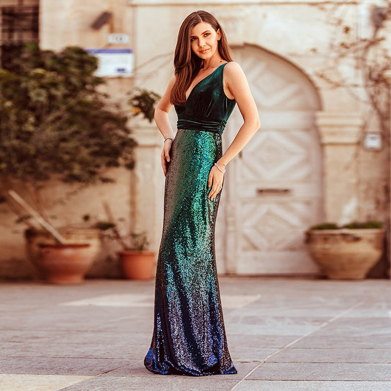 Sequin Bodycon V Neck Tuxedo Maxi Dress