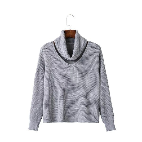 Fashion High Neck Hollow Out Pullover Knitting Sweater