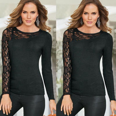Personality Black Lace Patchwork Long Sleeve Blouse