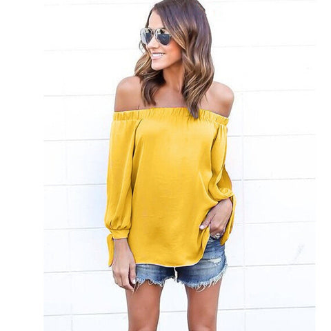 Off-shoulder Split Casual Pure Color Long Sleeves Blouse