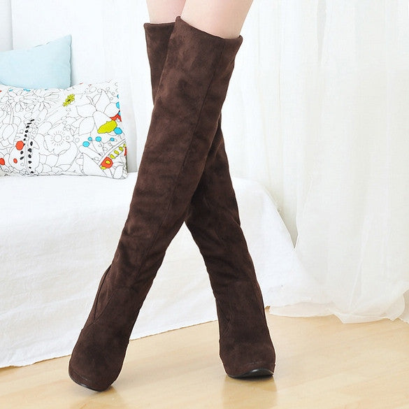 Women's Shoes Over the Knee Thigh Stretchy High Heels Boot Four Size Black Brown Sexy