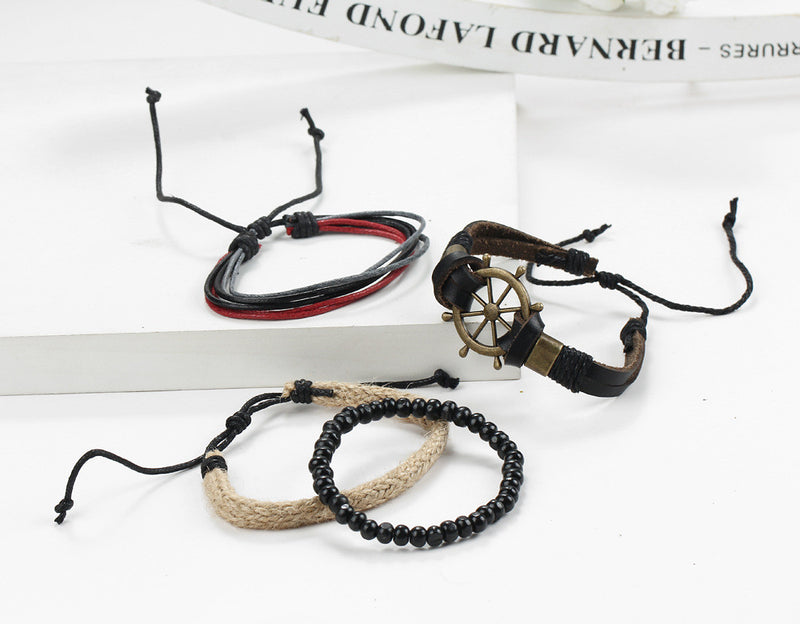 Rudder Anchor Hand Woven Multilayer Bracelet