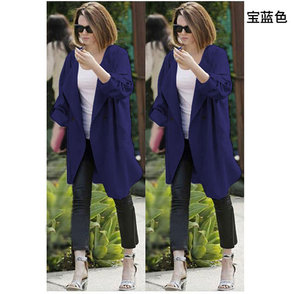 Lapel Big Turn-down Collar Pure Color Long Coat