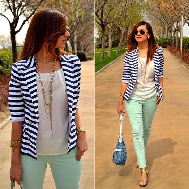 Turn-down Collar Long Sleeves Slim Striped Short Coat