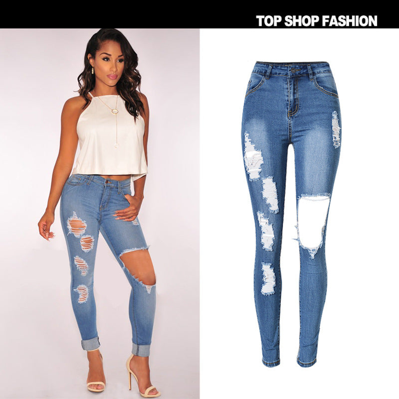 49711ce521 Big Holes Cut Out Middle Waist Long Skinny Jeans – MeetYoursFashion