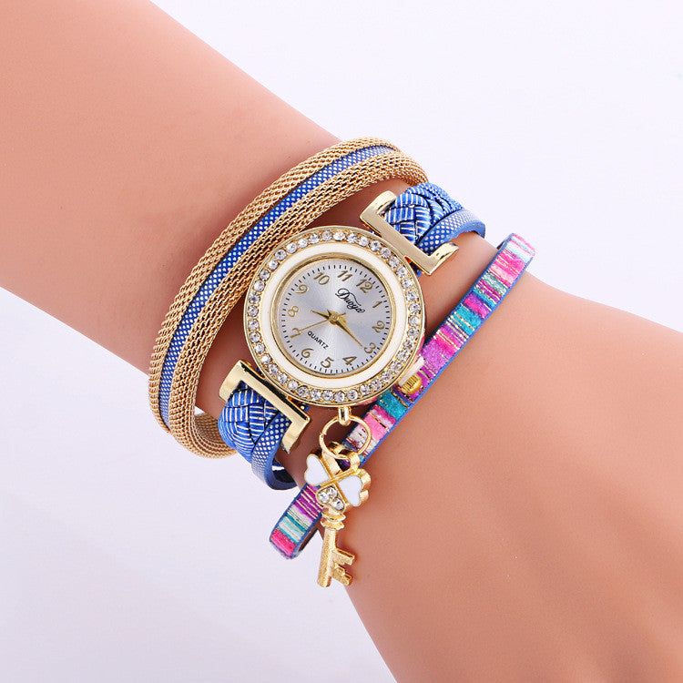 Key Pendant Colorful Print Crystal Watch