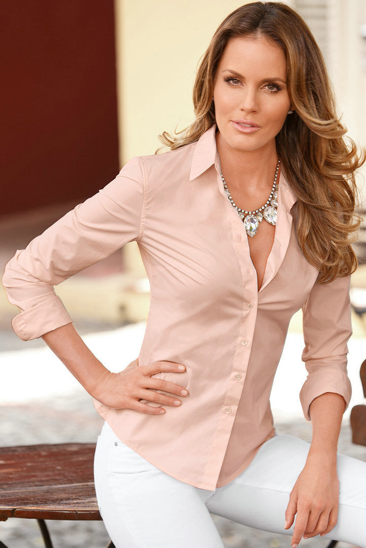 Fashion Pure Color Long Sleeve Lapel Women's Shirt