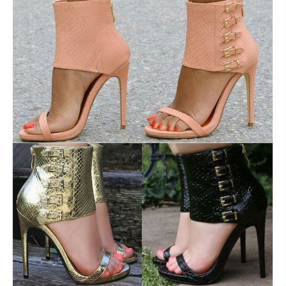 Belt Buckle Stiletto Heel Open-toe Zipper High Heel Sandals