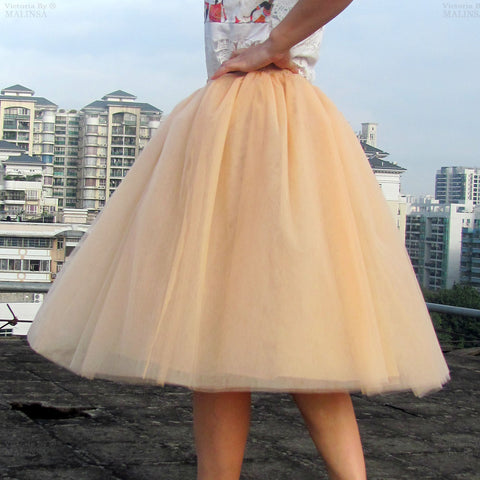 Lovely 7 Layers Pleated Flared Veil Skirt