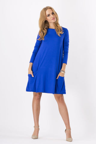 Fashion Pure Color Scoop Loose Pockets Short Dress