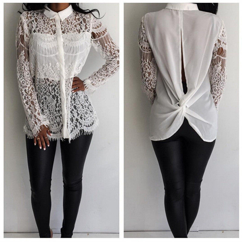 Hollow Out Lace Embroidery Flowers Splicing Fashion Shirt