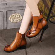 Soft Comfortable Real Leather Hand Made Low Chunky Heel Ankle Boots