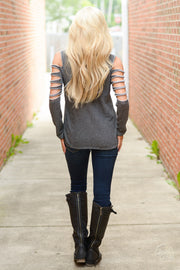 Fashion Hollow Out Long Sleeve Scoop Gray Blouse