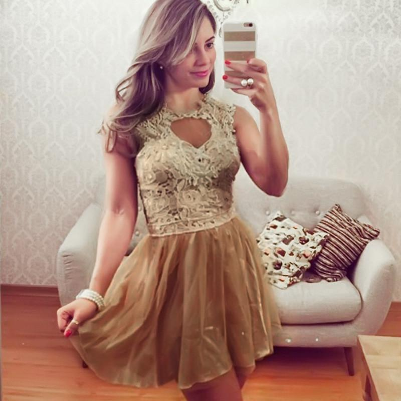 Sleeveless Scoop Golden Laces Patchwork Dress