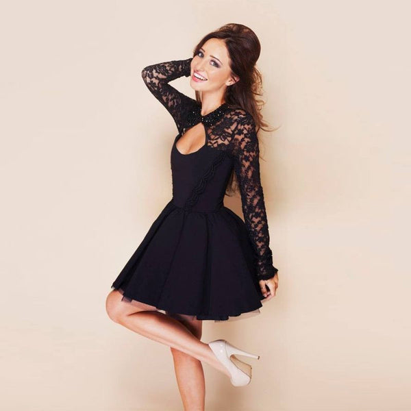 Lace Backless Long-Sleeved Short Dress - Meet Yours Fashion - 3